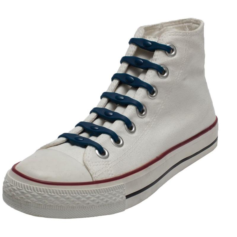14x Navy blauwe schoenveters elastisch/elastiek siliconen