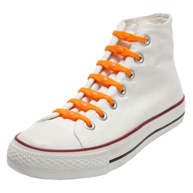 14x Oranje schoenveters elastisch/elastiek siliconen