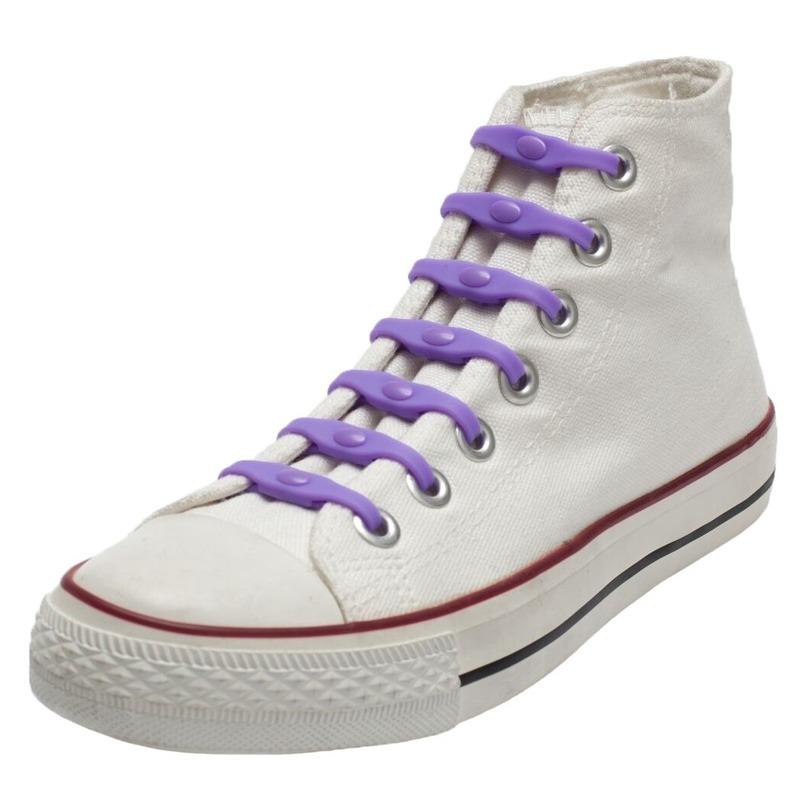 14x Paarse schoenveters elastisch/elastiek siliconen