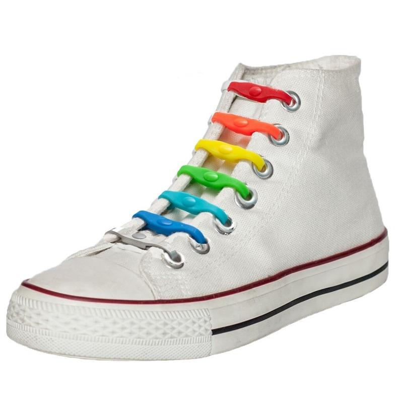 14x Regenboog kleuren schoenveters elastisch/elastiek siliconen