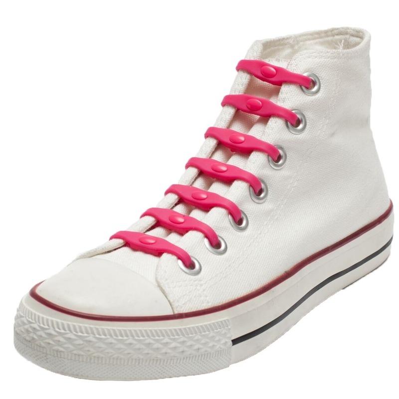 14x Roze schoenveters elastisch/elastiek siliconen