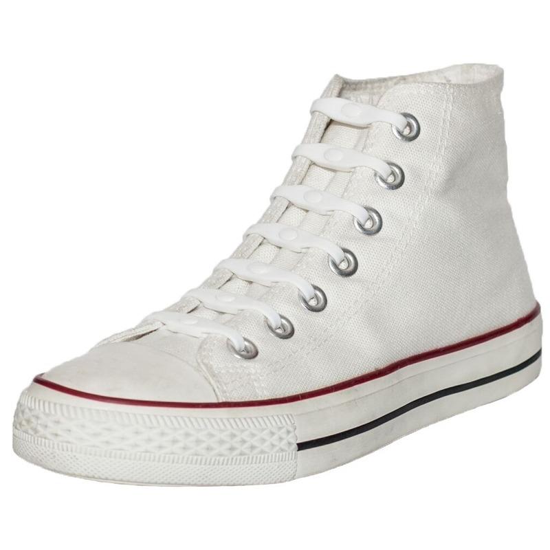14x Wit parel schoenveters elastisch/elastiek siliconen