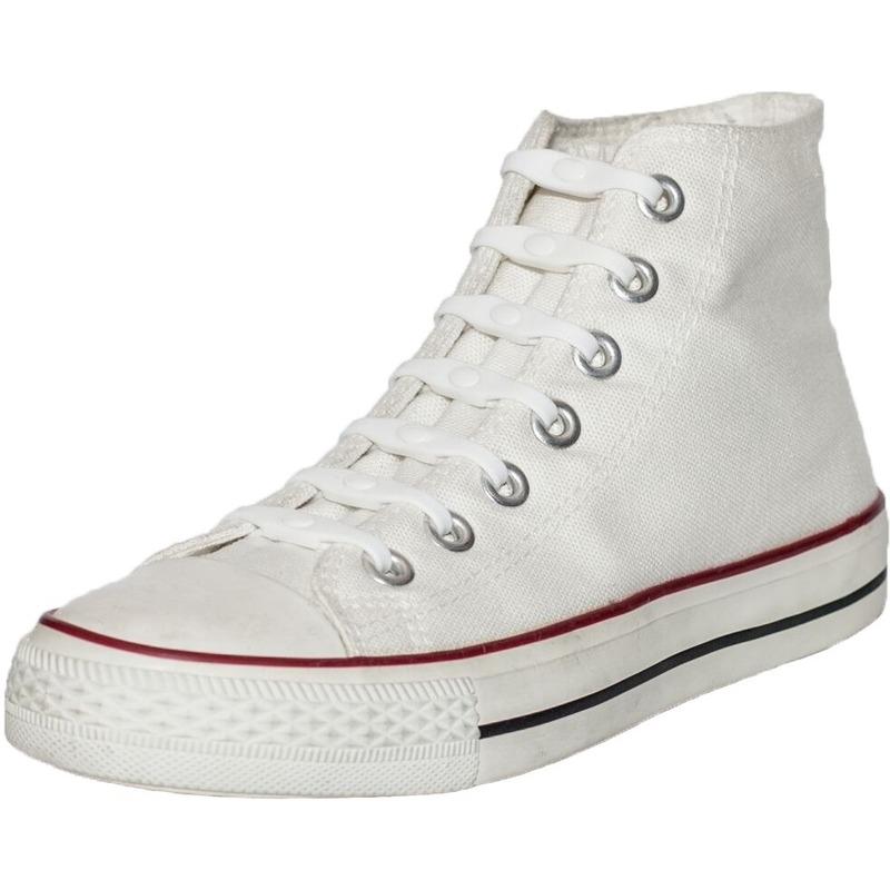 14x Witte schoenveters elastisch/elastiek siliconen