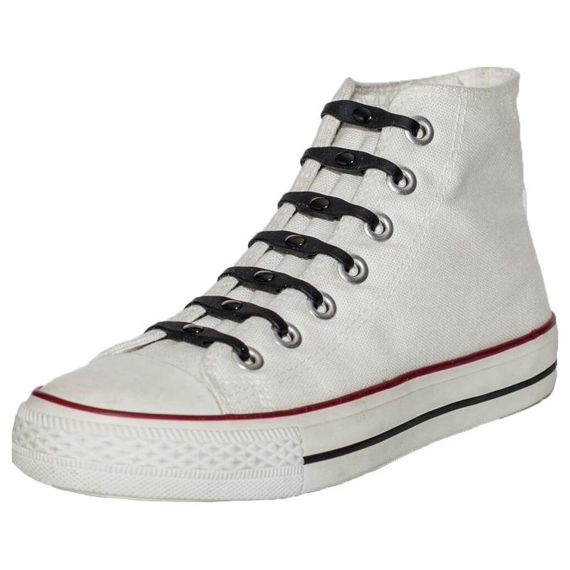 14x Zwarte schoenveters elastisch/elastiek siliconen