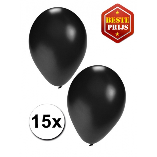 15 stuks zwarte ballonnen