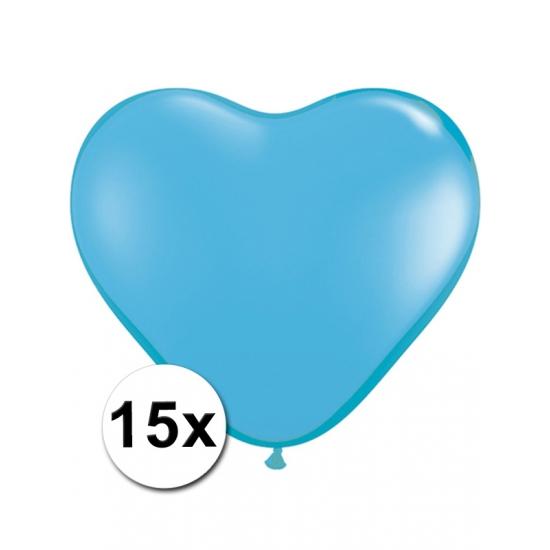 15x Hart ballonnen lichtblauw