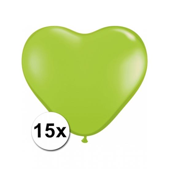 15x Hart ballonnen limegroen