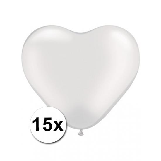 15x Hart ballonnen wit