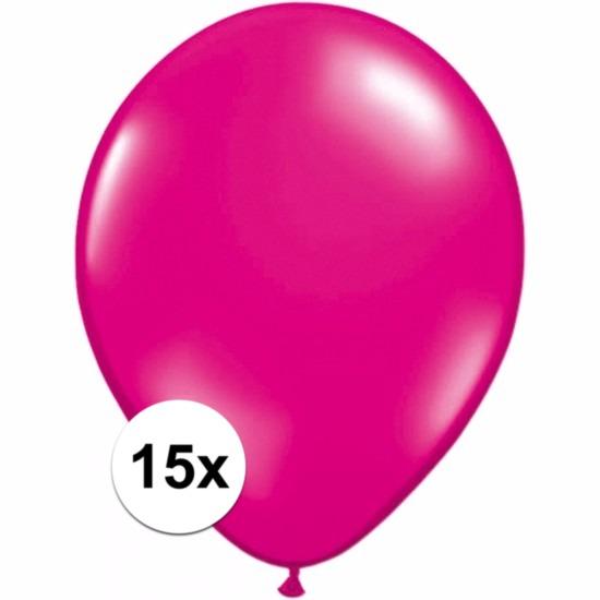 15x Voordelige magenta roze ballonnen