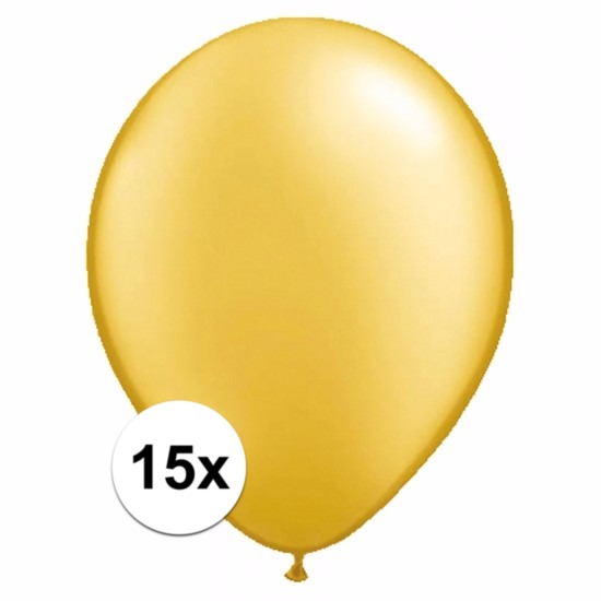 15x Voordelige metallic gouden ballonnen