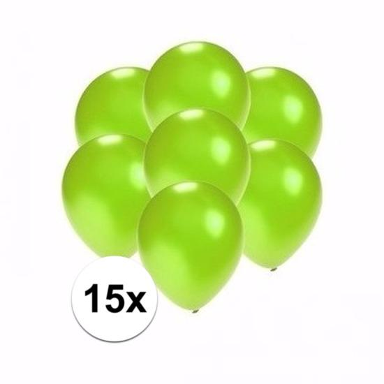 15x Voordelige metallic groene ballonnen klein