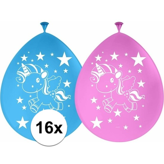 16x Eenhoorns ballonnen 30 cm kinderfeestje/kinderpartijtje versiering/decoratie