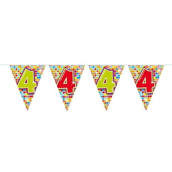 1x Mini vlaggenlijn-slinger verjaardag versiering 4 jaar
