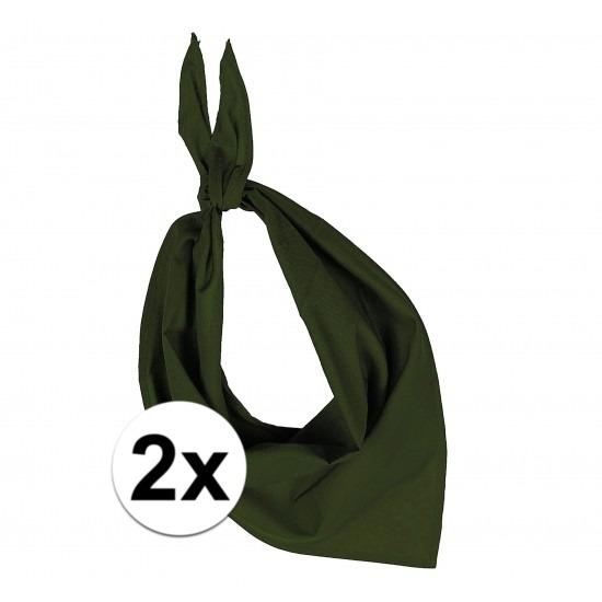 2 stuks olijf groen hals zakdoeken Bandana style