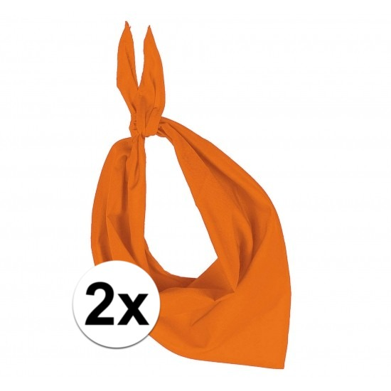 2 stuks oranje hals zakdoeken Bandana style