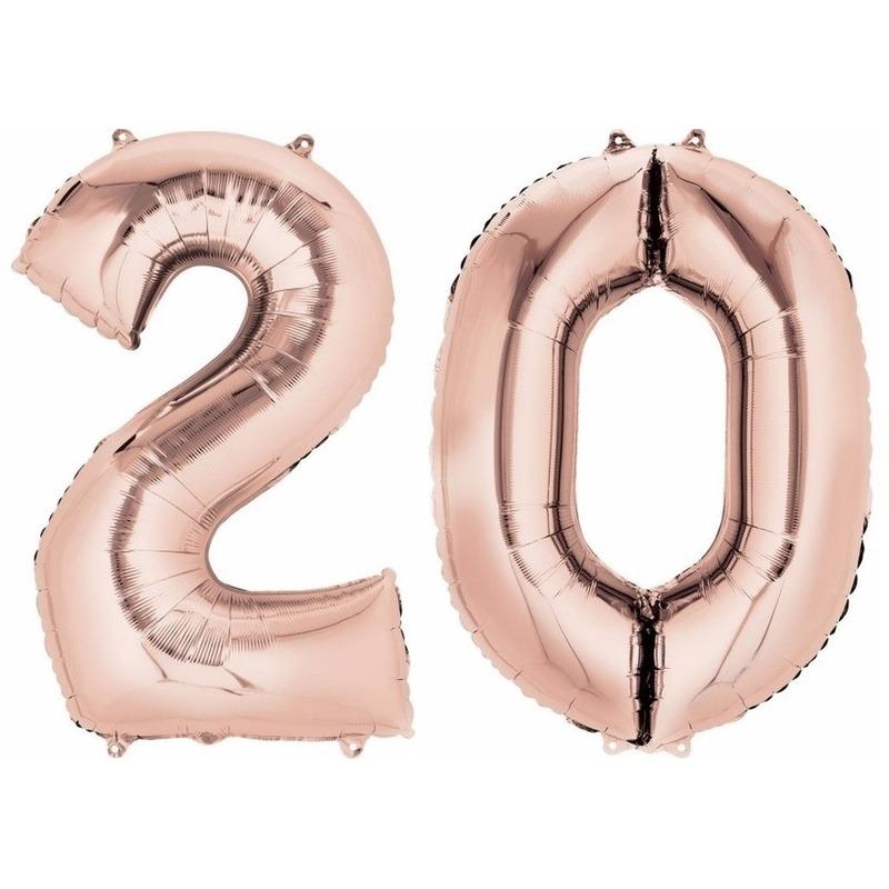 20 jaar leeftijd helium/folie ballonnen rose goud feestversiering
