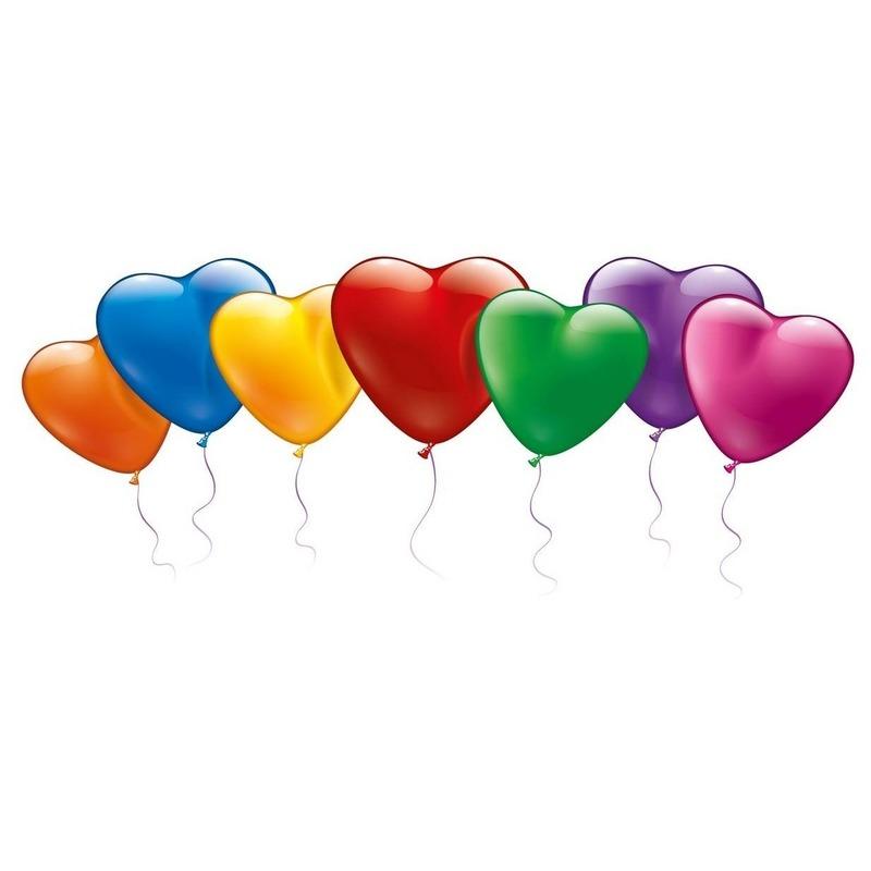 20x Hartvormige ballonnen in mooie kleuren