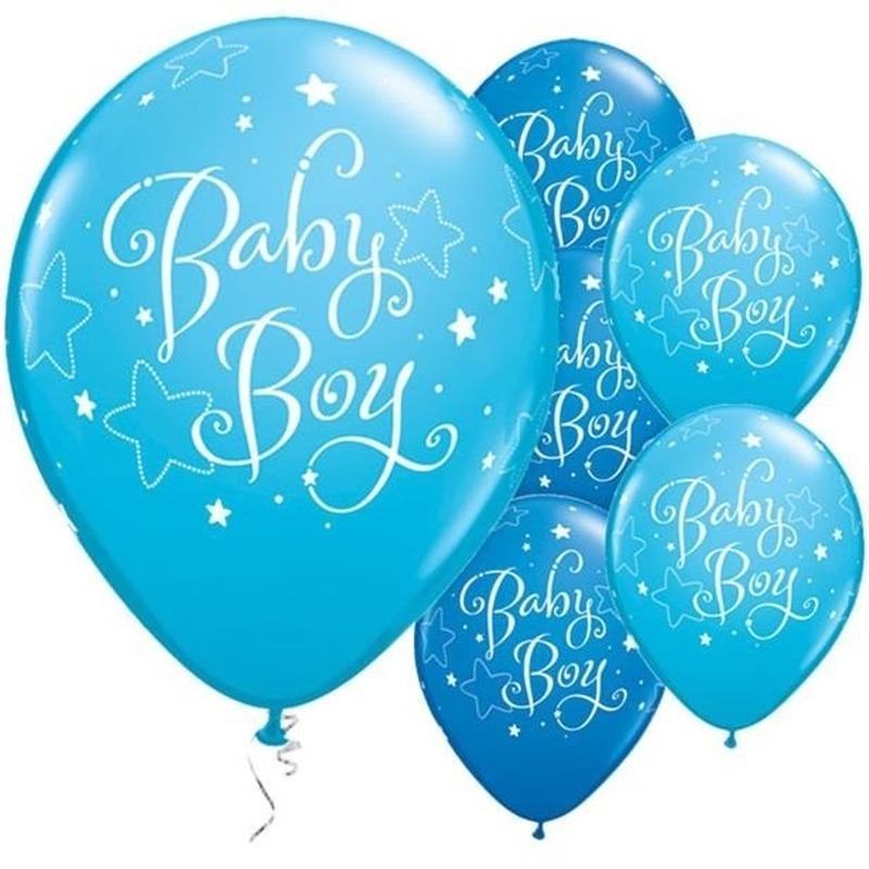 25x Geboorte heliumballonnen jongen 28 cm