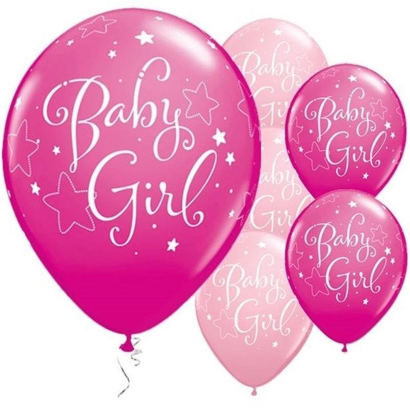 25x Geboorte heliumballonnen meisje 28 cm