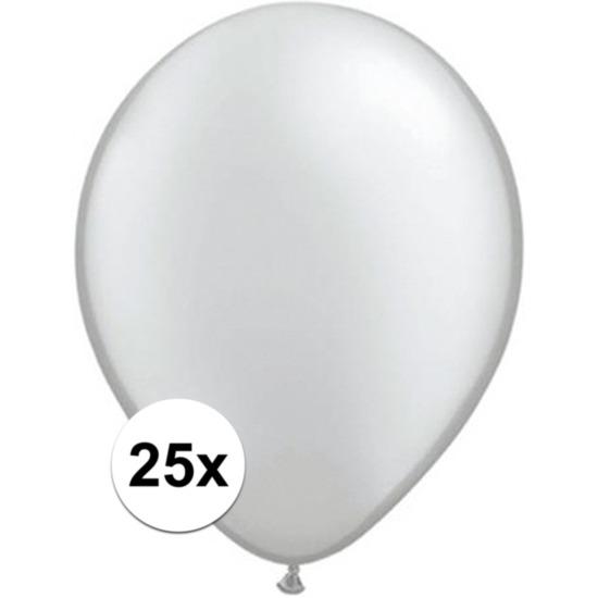 25x Metallic zilveren Qualatex ballonnen