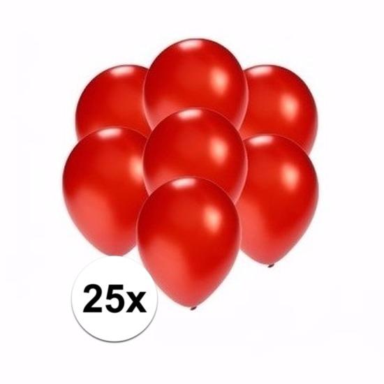25x Voordelige metallic rode ballonnen klein