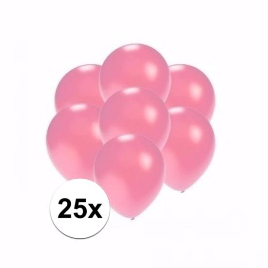 25x Voordelige metallic roze ballonnen klein