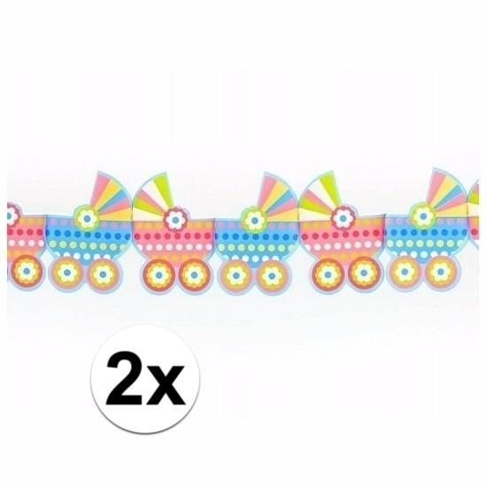 2x Babyshower versiering kinderwagen slingers