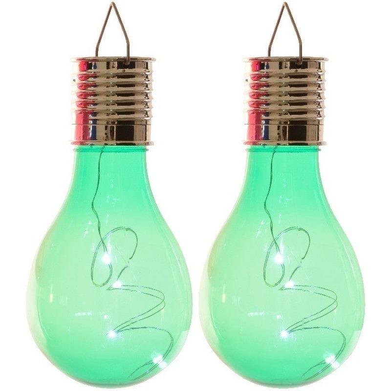 2x Buitenlampen-tuinlampen lampbolletjes-peertjes 14 cm groen
