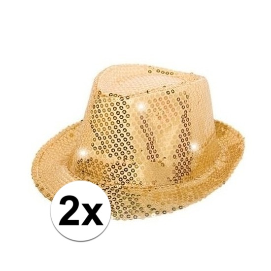 2x Glitter hoeden goud met LED verlichting