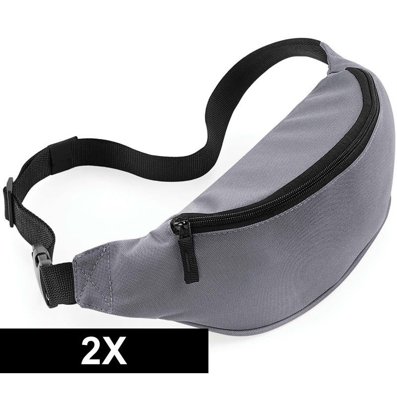 2x Heuptassen grijs met verstelbare band