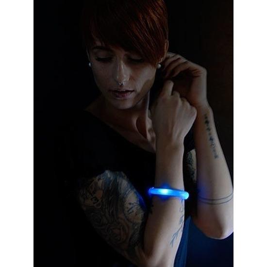 2x Lichtgevende armband blauw met LED lampjes voor volwassenen