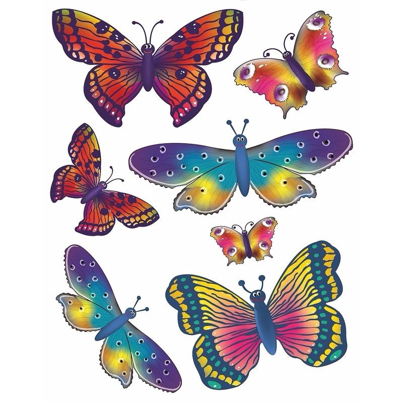 2x vellen kinder autoraam stickers gekleurde vlinders