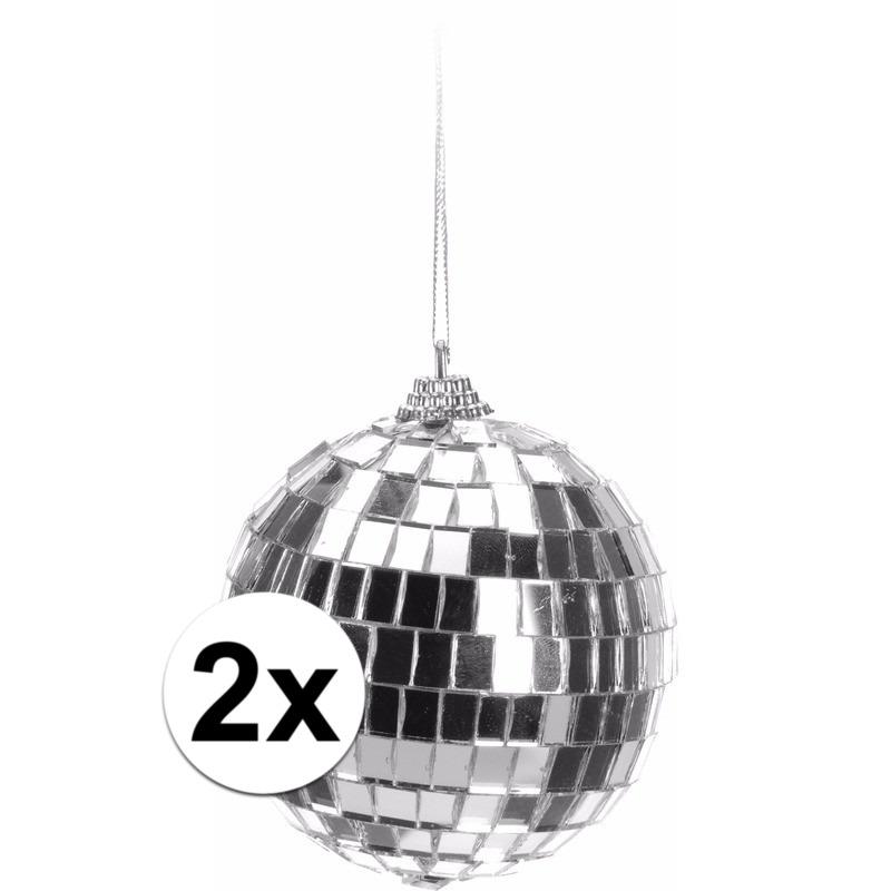 2x Zilveren disco kerstbal 8 cm