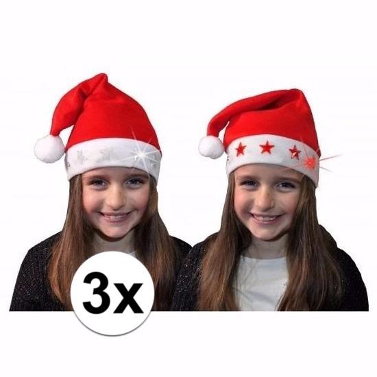 3 kerstmutsen met witte sterretjes en verlichting voor kids
