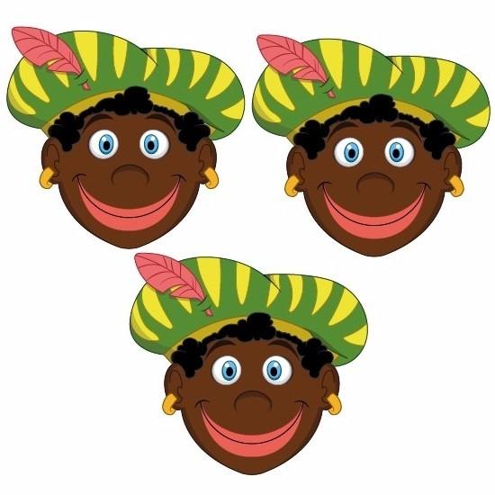 3 stuks zwarte pieten maskers