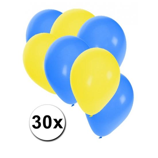 30 stuks blauwe en gele ballonnen