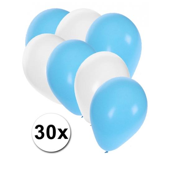 30x Lichtblauwe en witte ballonnen