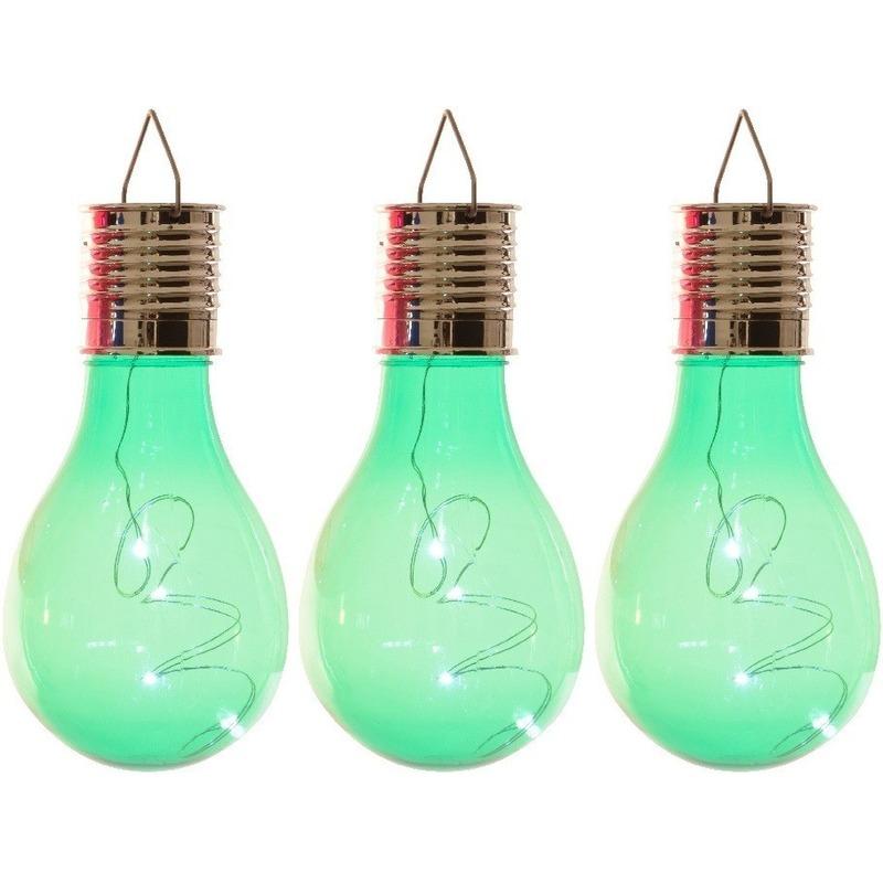 3x Buitenlampen-tuinlampen lampbolletjes-peertjes 14 cm groen