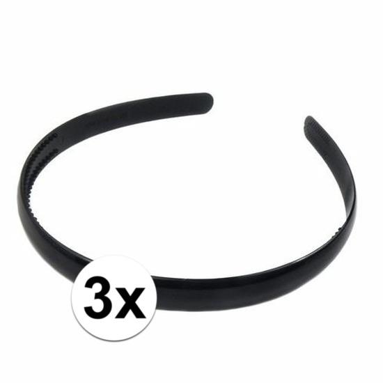 3x Diadeem/haarband zwart van plastic 1 cm voor volwassenen