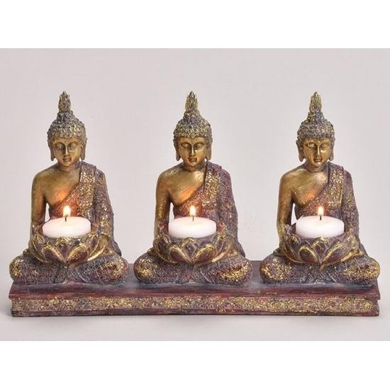 3x Goud boeddha beeldjes met kaarshouder 17 cm