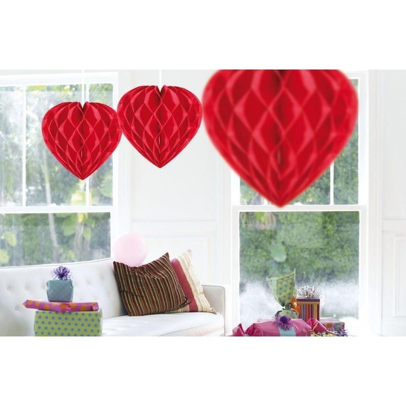 3x Hang decoratie hartjes rood 30 cm