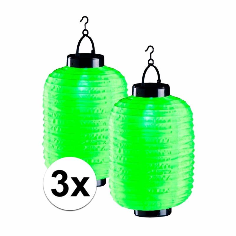 3x lampionnen op zonne energie groen