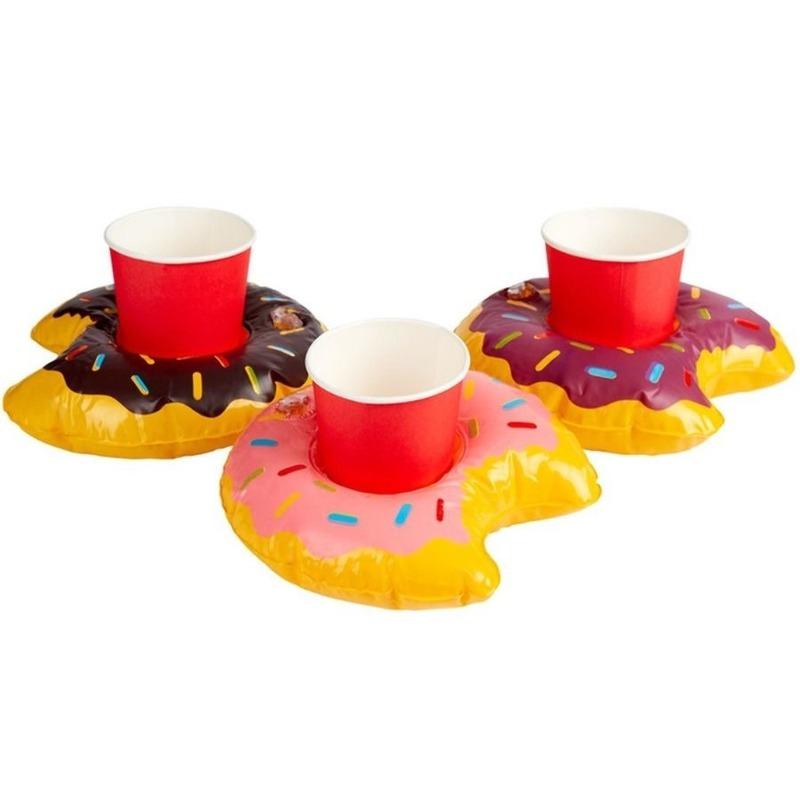 3x Opblaasbare blikjes houders donut 20 cm