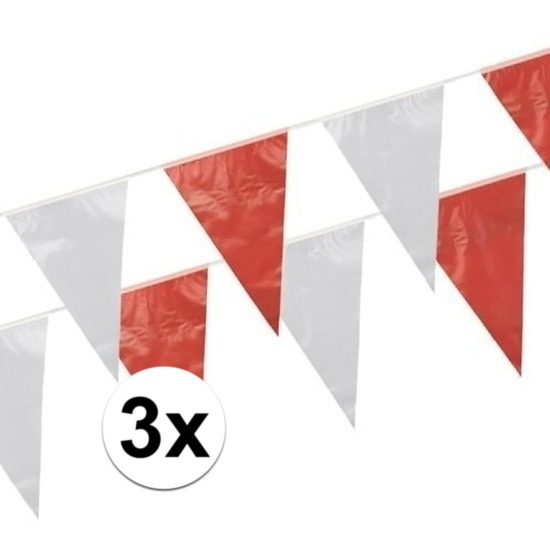 3x Rood witte vlaggetjes 10 meter
