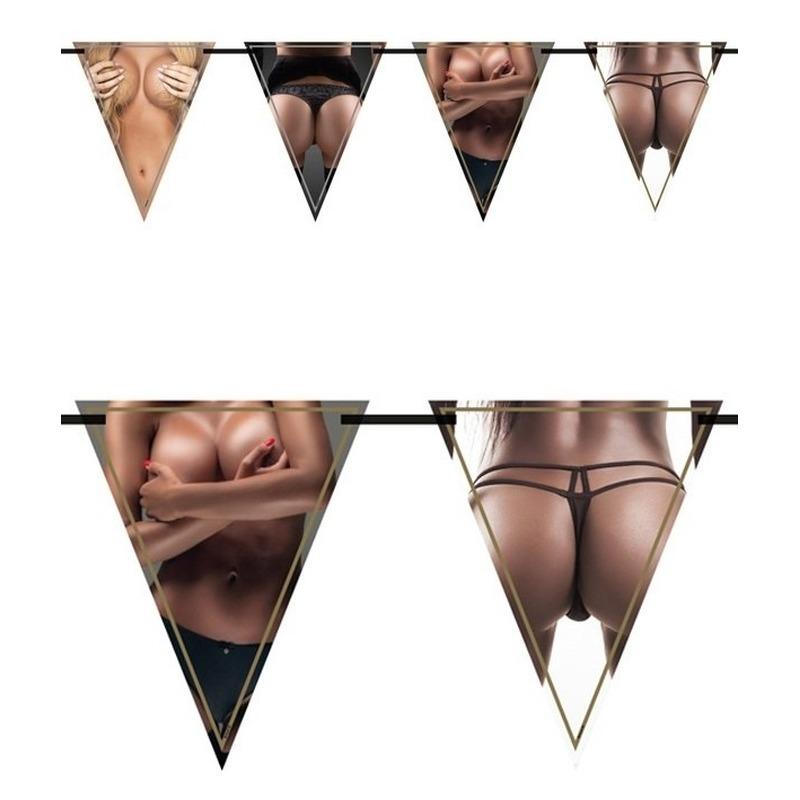 3x Vrijgezellenfeest vlaggenlijnen borsten en billen