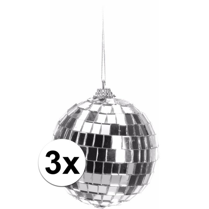 3x Zilveren disco kerstbal 8 cm