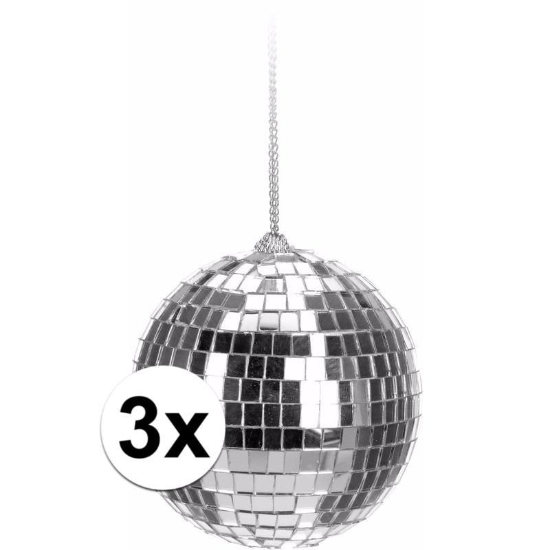 3x Zilveren disco kerstballen 6 cm