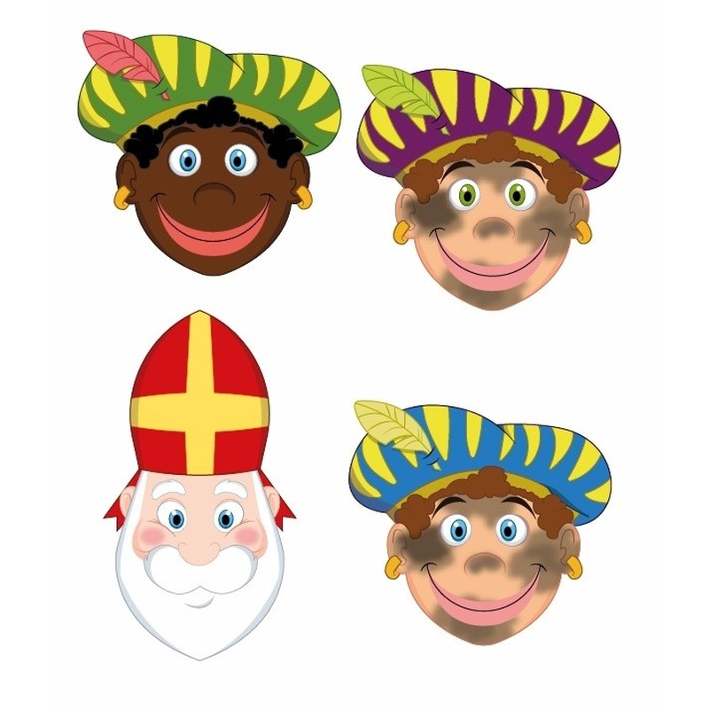 4 stuks zwarte Pieten en Sinterklaas maskers