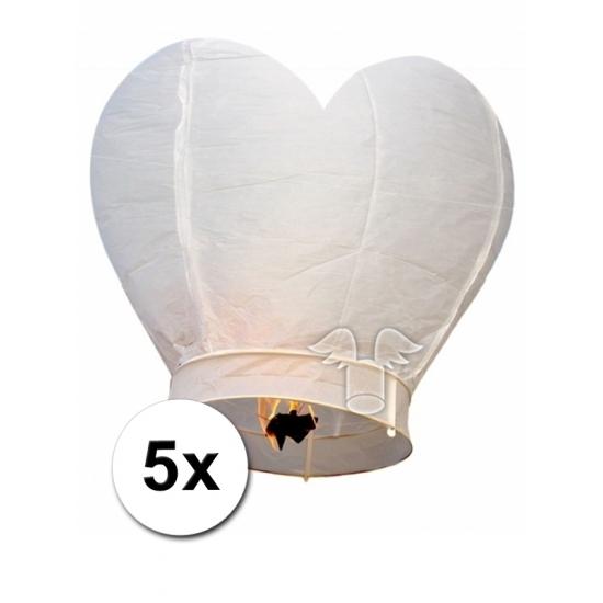 5 hartvormige wensballonnen wit 100 cm