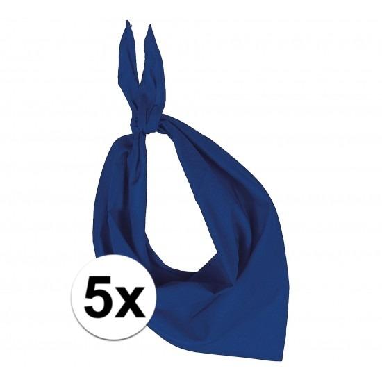 5 stuks kobalt blauw hals zakdoeken Bandana style